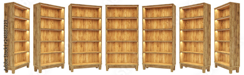 Obraz Isolated wooden showcase with lighting in classic style. For installation in your project at 7 angles. realistic 3D render - fototapety do salonu