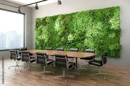 Obraz 3d render of a Vertical green wall in modern meeting room - fototapety do salonu