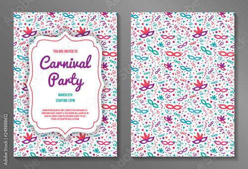 Fotografia Colorful two-sided Carnival Party invitation. Vector