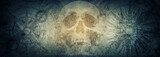 Pirate skull and compasses on old grunge paper background.