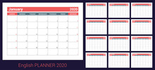 2020 Calendar. English Planner. Сolor Vector Template. Week Starts On Sunday. Business Planning. New Year Calender. Clean Minimal Table. Simple Design