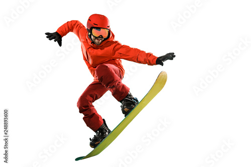 Foto Portrait of young man in sportswear with snowboard isolated on a white studio background