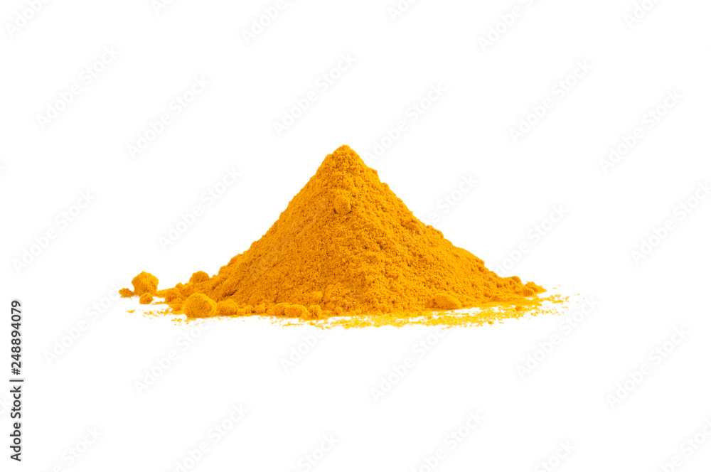 Fototapety, obrazy: Turmeric powder heap isolated on white