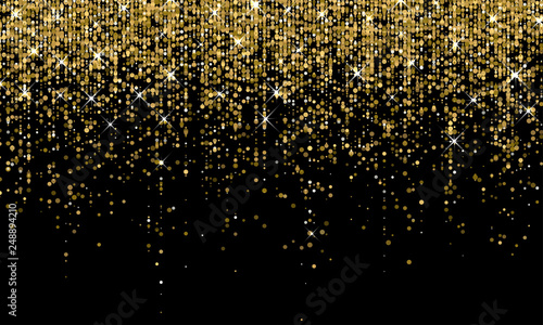 Fototapeta Golden confetti falling on sparkling gold glitter background. Vector carnival party golden confetti glow on black background obraz