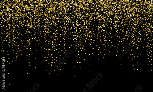 Obrazy kolor złota  golden-confetti-and-falling-gold-glitter-on-black-vector-background-carnival-or-birthday-party