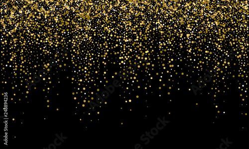 Obrazy kolor złota  golden-confetti-and-falling-gold-glitter-on-black-vector-background-carnival-or-birthday-party-glowing-golden-confetti-background