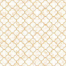 Elegant Decorative Quatrefoil Pattern In Golden Foil On White Marble Background With Gold Veins. Illustration Pattern For Product Design, Fabric Textile, Wrapping Paper, Cards.