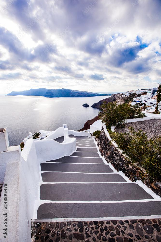 Fototapeta Streets of Oia city, Santorini island, Greece