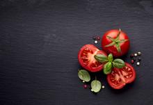 Fresh  Tomatoes And Basil On B...