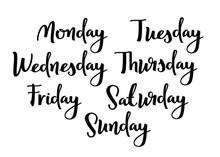 Hand Lettering Days Of Week. Modern Calligraphic Style. Handwritten Words.