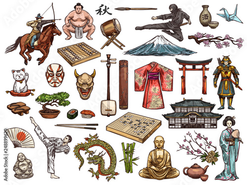 Tablou Canvas Japanese culture, religion vector symbols