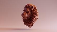 Chocolate Clay Adult Male Lion Bust Sculpture 3Q Left 3d Illustration 3d Render