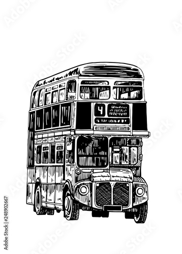 Graphical double decker bus isolated on white background,vector sketch of london Wallpaper Mural