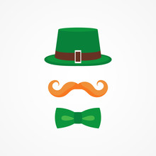 Vector Flat Design Icon For Saint Patricks Day Character Leprechaun With Green Hat