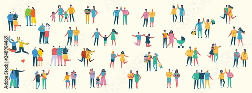 Vector illustration of different family people with children, couples, friends in the flat style.