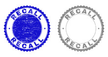 Grunge RECALL Stamp Seals Isolated On A White Background. Rosette Seals With Grunge Texture In Blue And Grey Colors. Vector Rubber Watermark Of RECALL Label Inside Round Rosette.
