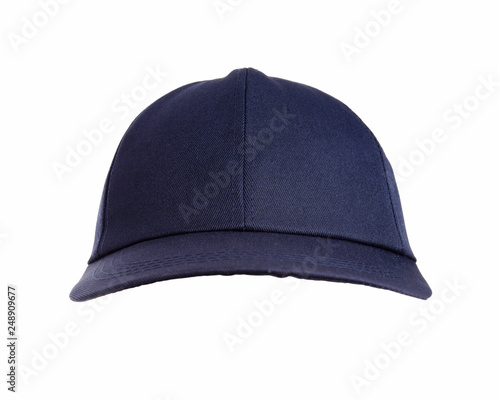Fotografia  Front view of black hat isolated on white background.