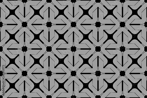 Fotografiet  Vector square seamless pattern of woven square shaped wires.