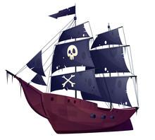 Vector Cartoon Pirate Ship Iso...