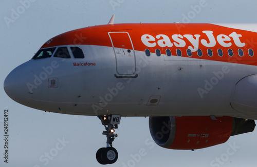 A Easy Jet Airbus A320 plane lands at the Nantes-Atlantique