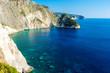Greece, Zakynthos, Blue waters surrounding plakaki island at cliffs near agalas