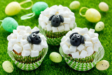 Easter Sheep Cupcakes On Green Grass Background, Homemade Cup Cakes Shaped Funny Sheeps With Marshmallow And Black Fondant Icing Faces, Creative Treats For Kids On Easter Holiday