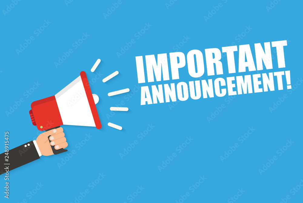 Fototapety, obrazy: Hand holding megaphone with Important Announcement. Vector flat