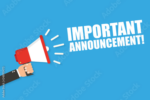 Photo Hand holding megaphone with Important Announcement. Vector flat