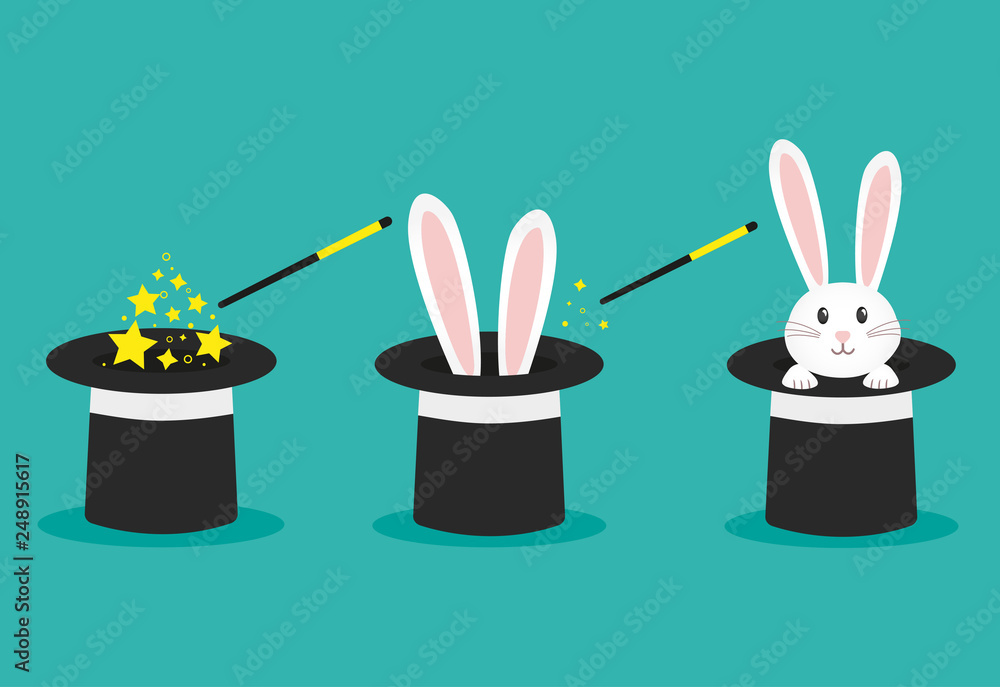 Fototapeta Magician's black hat, magic hat with bunny ears. Vector flat illustration in cartoon style.