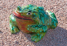 Ceramic Frog In Green And Red ...