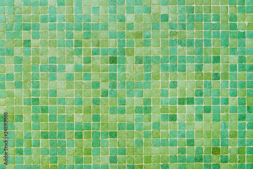 obraz lub plakat Yellow and green mosaic wall background texture