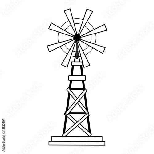 Fotomural farm windmill symbol black and white