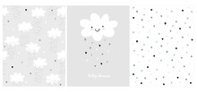 White Fluffy Smiling Cloud On A Light Gray Background. Simple Baby Shower Art. Cute Simple Baby Shower Vector Card And 2 Patterns.Rain Of Hearts. Tiny Heart Pattern. Clouds And Rain Vector Design.