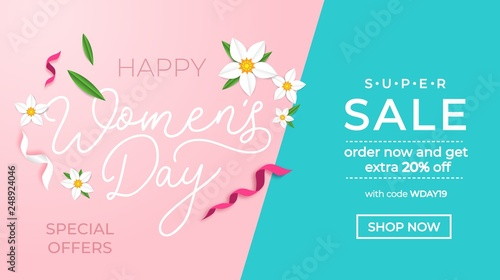 Happy women's day sale banner with greeting card. International women's day promotion.Vector illustration