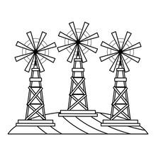Farm Windmills On Grass Black And White