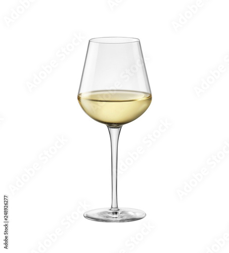 Foto op Canvas Alcohol White wine in glass isolated on white background.