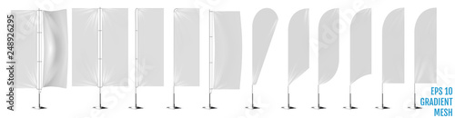 Fotografía  Realistic white banner flags 3d mockup