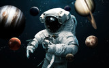 Fototapeta Space - Astronaut and all planets of Solar system. Science fiction art. Elements of this image furnished by NASA