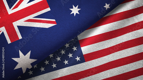 Photo  Australia and United States two flags textile cloth, fabric texture