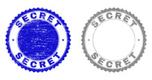 Grunge SECRET Stamp Seals Isolated On A White Background. Rosette Seals With Grunge Texture In Blue And Grey Colors. Vector Rubber Stamp Imprint Of SECRET Text Inside Round Rosette.
