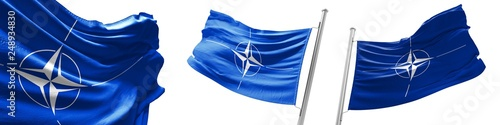 Set flags of NATO  waving in wind Canvas Print