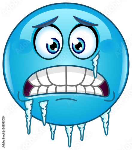 Fotografija Blue cold freezing face emoticon with icicles clinging to its jaw and cheek