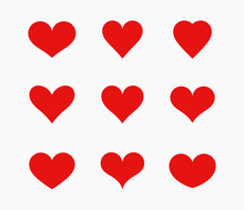 Red Hearts Icons Set.