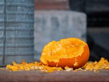 Close Up Of A Pumpkin Eaten By...