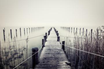 Panel Szklany Czarno-Biały Steg am Ammersee im Nebel