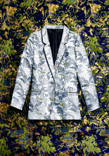 Blue Floral Brocade Blazer