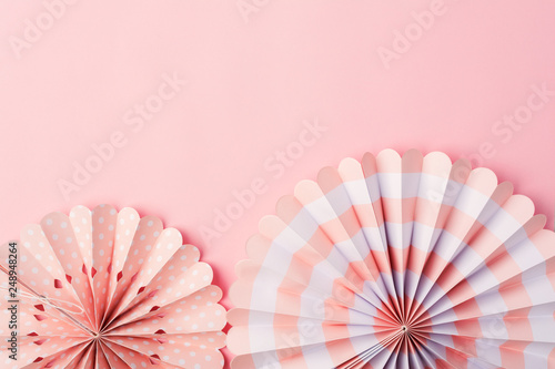 Superb Chinese Paper Fans In Pastel Colors On Pink Table Top View Interior Design Ideas Grebswwsoteloinfo