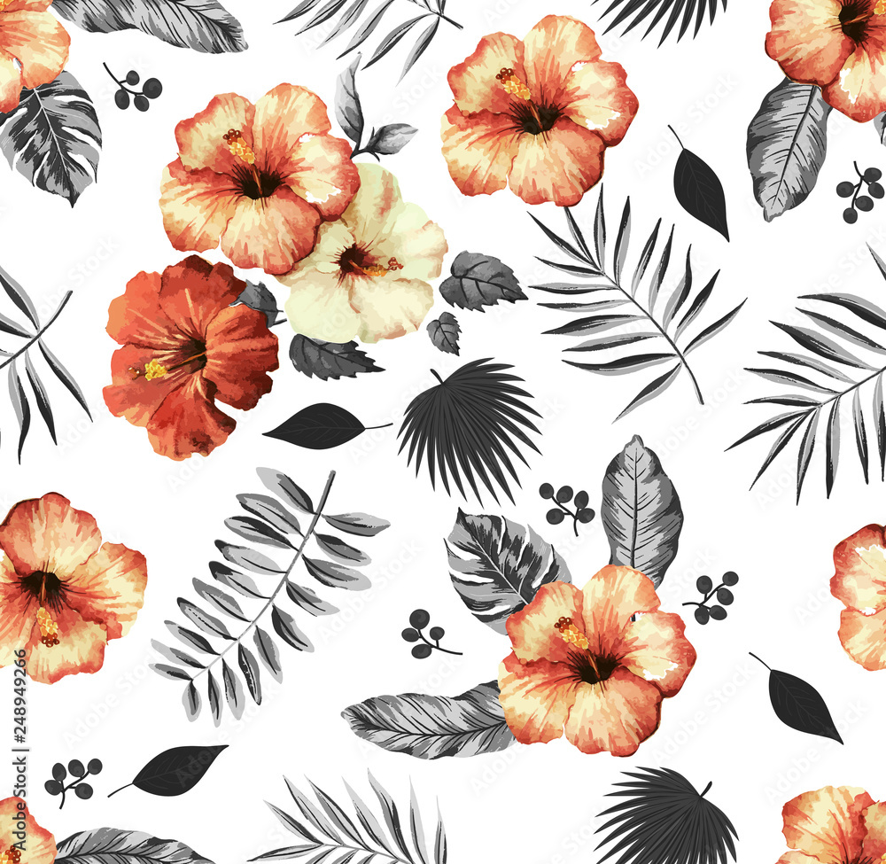aloha,background,coconut,exotic,fabric,fashion,flora,flowers,garden,hawaii,hawaiian,hibiscus,jungle,leaf,nature,palm,paradise,print,pattern,repeat,succulent,summer,textile,texture,tree,tropic,tropical