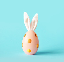 Easter Egg With Bunny Ears. Minimal Concept.