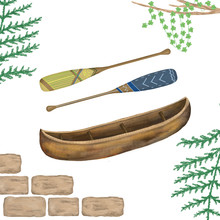 Indian Wooden Canoe Type Of Boat Icon. Watercolor Clip Art On White Background.
